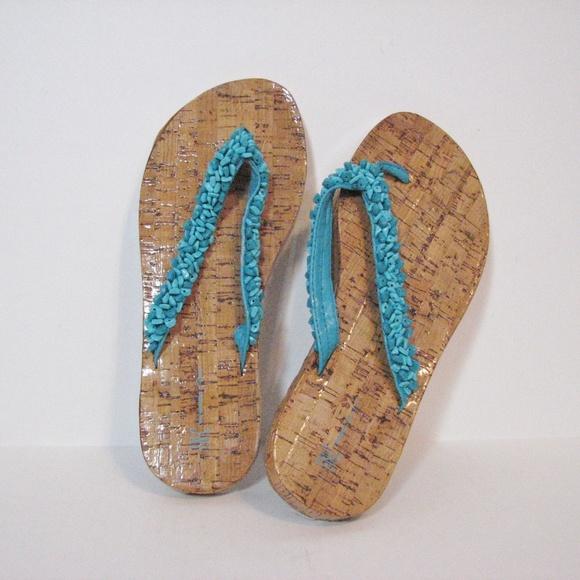 3092bba00e3313 Inc Pebbles Turquoise Cork Flip Flops New 9m